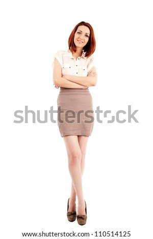 Caucasian young businesswoman isolated on white, full length