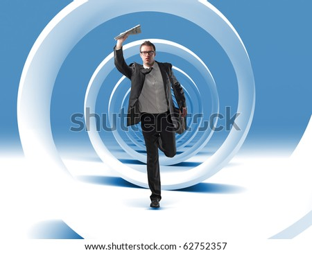 caucasian young man run in 3d spiral