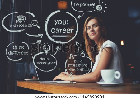Caucasian young woman dreaming about career while work on portable netbook in coffee shop, female freelancer thinking about new ideas during using laptop computer. Infographic illustration of goals #1145890901