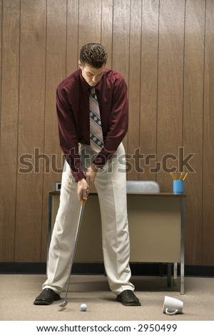 stock photo caucasion mid adult retro businessman putting golf ball into coffee cup in his office 2950499 Crush 'n' Gusher is a multi rider, coaster like raft ride for big kids, ...