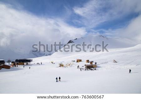 Caucasus Mountains, Georgia, ski resort Gudauri. Mountain View.  #763600567