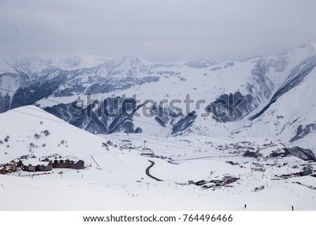 Caucasus Mountains, Georgia, ski resort Gudauri. View of the mountains from the top. View of the Gudauri from the slopes. #764496466