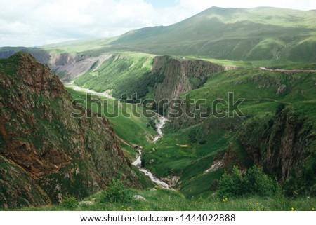 Caucasus mountains Gil-Su Kabardino-Balkaria, Elbrus national park, North Caucasus, Russia.  Hot Springs with thermal water.