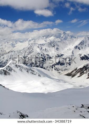 Caucasus Mountains. Gorge Irik Chat. Snowy plateau