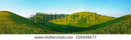 Caucasus Mountains in Kabardinka, Russia. Panoramic view