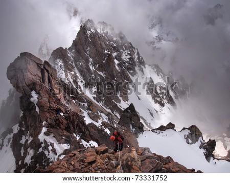Caucasus mountains. Russian mountains near bordrer of Georgia. Bezengi national recreation center. National park. Stitched Panorama, polarizer.