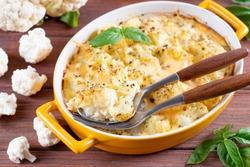 Cauliflower gratin with bechamel sauce with basil, horizontal