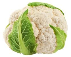 cauliflower isolated on white background, clipping path, full depth of field