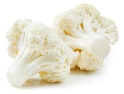 Cauliflower isolated on white background. Ripe fresh cauliflower Clipping Path