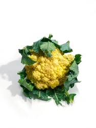 Cauliflower isolated on white, Cauliflower is a cruciferous vegetable that is naturally high in fiber and B-vitamins. It provides antioxidants and phytonutrients that can protect against cancer