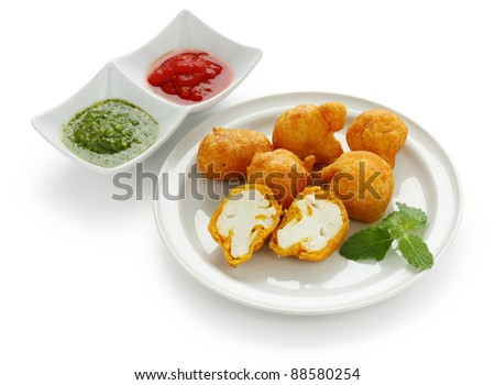 cauliflower pakora , indian fritter cuisine
