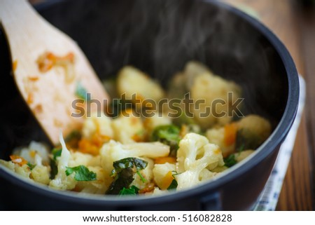 cauliflower with fried Brussels sprouts #516082828