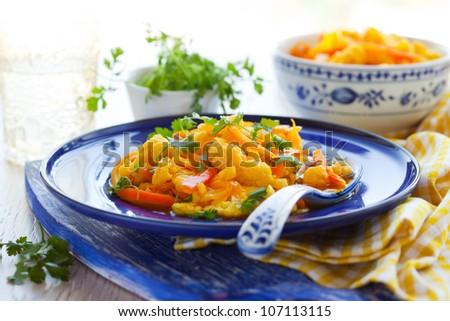Cauliflower with saffron,carrot and oranges