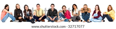 Causal group of people sitting on the floor isolated