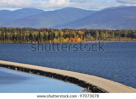 Causeway road over Williston Lake in beautiful British Columbia