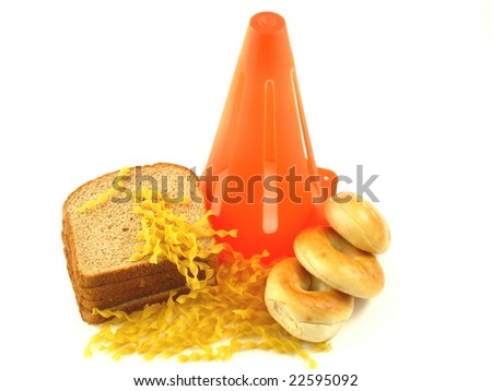 Caution Against Carbs in Bagels, Bread, and Pasta for People on a Low Carbohydrate Diet Isolated on a White Background