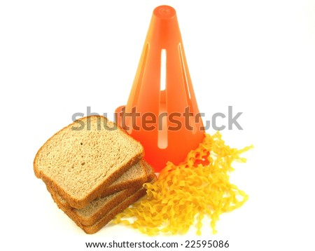 Caution Against Carbs in Bread and Pasta for People on a Low Carbohydrate Diet Isolated on a White Background