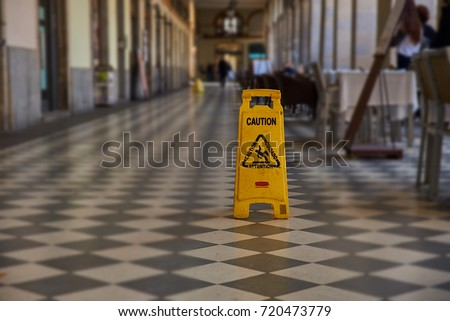 Caution because the floor is wet #720473779