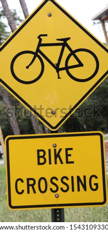 CAUTION BIKE CROSSING SIGN BICYCLE SIGN  #1543109330