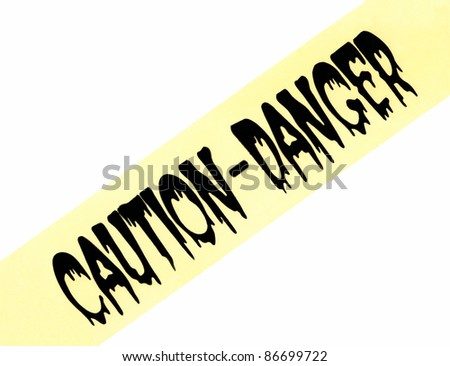Caution Danger Halloween Sign Banner Tape isolated on white background