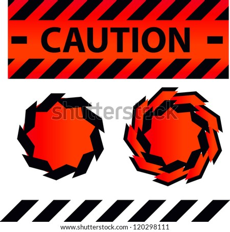 Caution or danger and police tape attention with lables stickers and design elements set
