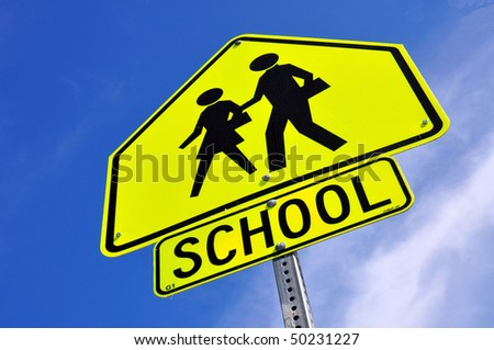 Caution School Crossing Sign