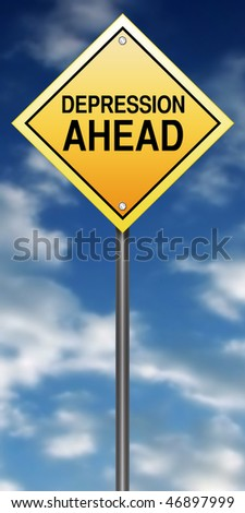 Caution Sign with Depression Ahead