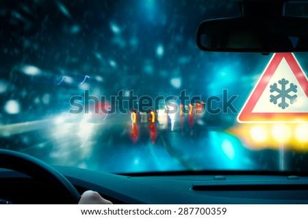 Caution - Snowfall - Night Driving