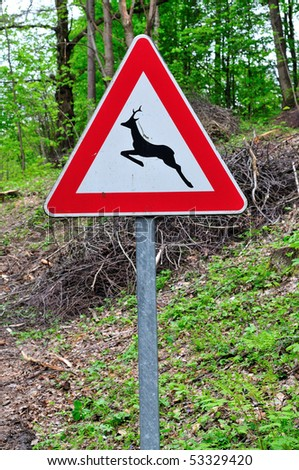 Caution wild animals road sign on forest background
