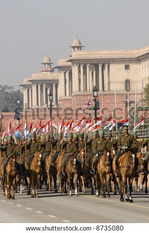Cavalry parading down the Raj Path in preparation for Republic Day Parade, New Delhi, India
