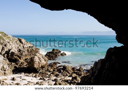 Cave and beach, Gansbaai, South Africa.