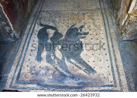 Cave Canem Beware of dog mosaic in Pompeii, Italy