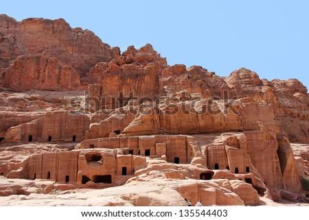 Cave dwellings in the ancient city of Petra, Jordan