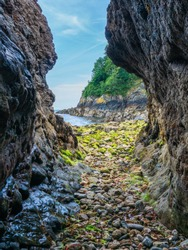Cave Entrance on beach in Guernsey