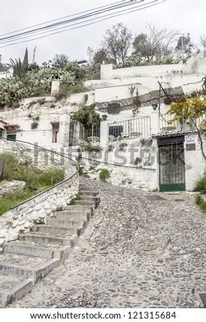 Cave houses in the neighborhood of the Sacromonte in Granada - Spain
