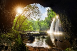 Cave in Heo Suwat Waterfall Khao Yai National Park in Thailand.