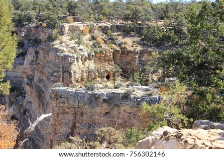 Cave in the mountainside.The Grand canyon.Arizona. USA. #756302146