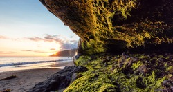 Cave on Mystic Beach on the West Coast of Pacific Ocean. Summer Sunny Sunset. Canadian Nature Landscape Background. Located near Victoria, Vancouver Island, British Columbia, Canada.