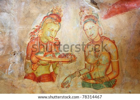 Cave painting at Sigirya  Temple, Sri Lanka. V century AD