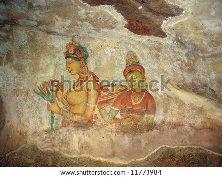 Cave painting inside the ancient Cave temple, Sri Lanka. 5 century