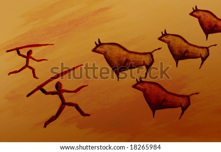 Cave painting sketch of a pre historic bull hunting