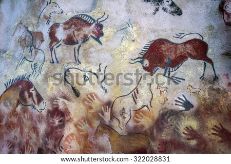CAVE PAINTINGS , ROCK PAINTINGS , bisons painted on a rock , bisons painted on a cave, horses painted on a rock, horses ,hands ,buffalos painted on a cave and on a rock