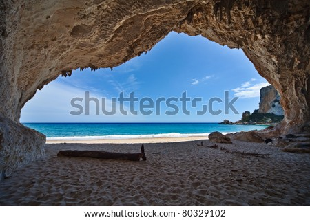 cave paradise blue sea and sky relaxation paradise on beach tourism tropical island
