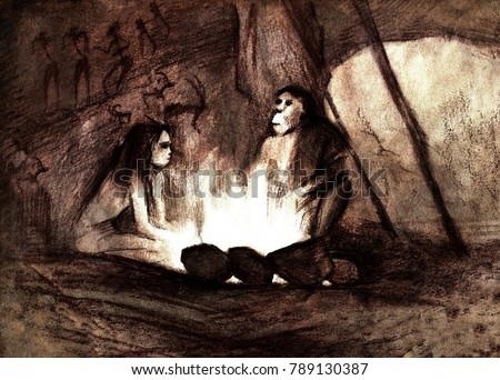 cave people by the fire, Neanderthals in the cave, the original illustration by sepia Stock photo ©
