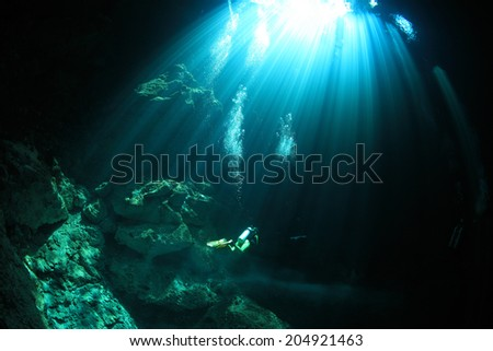 Cavediving in the cenote underwater cave at the yucatan peninsula of mexico