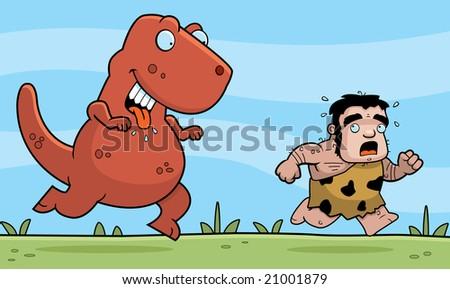 caveman running from dinasaur