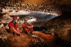 Cavers exploring a beautiful cave