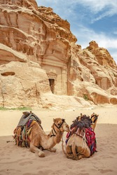 Caves in sandstones, columns and ruins of the ancient Bedouin city of Petra, Jordan