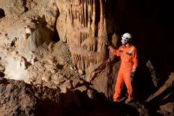 Caving in Niguella Cave, Zaragoza Province, Aragon, Spain.