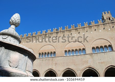 Cavour square, pinecone fountain and Ducal palace, Rimini, Italy